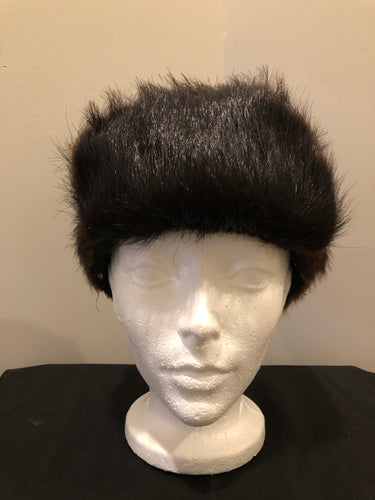 "Kingspier Vintage - Dark brown fur hat with front flap and quilted lining.  Circumference - 21.5""  Hat is in good condition with some overall wear."