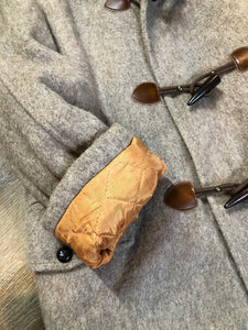 Kingspier Vintage - Wild Woods grey wool duffle coat with wooden toggles and zip closures, patch pockets, Sherpa and quilted lining. Made in Canada.