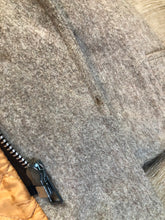 Load image into Gallery viewer, Kingspier Vintage - Wild Woods grey wool duffle coat with wooden toggles and zip closures, patch pockets, Sherpa and quilted lining. Made in Canada.