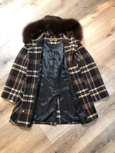 Kingspier Vintage - Sachi brown plaid wool blend duffle coat with dark brown Finnish fox fur trimmed hood, toggle and zip closures and vertical pockets. Size small/ medium.