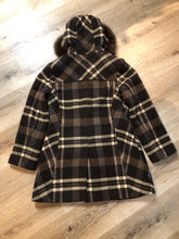 Load image into Gallery viewer, Kingspier Vintage - Sachi brown plaid wool blend duffle coat with dark brown Finnish fox fur trimmed hood, toggle and zip closures and vertical pockets. Size small/ medium.