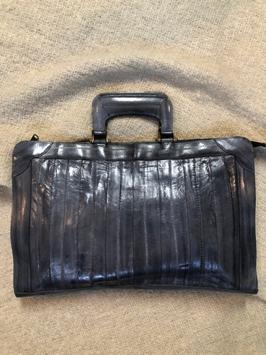 "Kingspier Vintage - Vintage Borim grey smooth eel skin bag with top handle.  Length - 15.5"" Width - 1.5"" Height - 10""  This purse is in excellent condition, some overall wear."