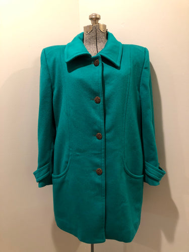 Kingspier Vintage - London Fog teal green 100% wool car coat with large filigree button closures and patch pockets. Size large.