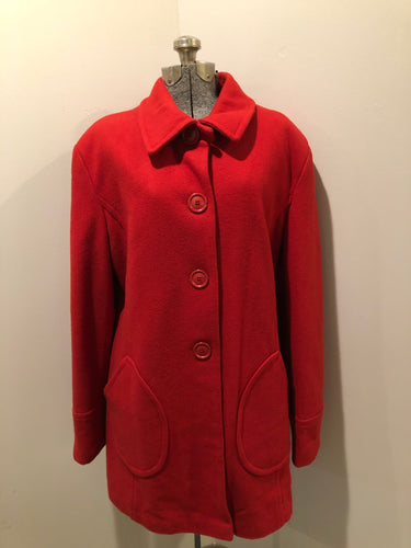 Kingspier Vintage - Jessica wool blend car coat in red with large buttons and patch pockets. Made in Canada. Size 18.