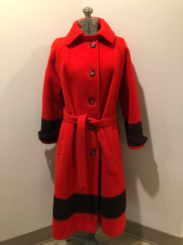 Kingspier Vintage - Hudson's Bay Company red and black stripe 100% virgin wool point blanket coat in a swing coat style with belt, buckle detail at the collar, button closures, slash pockets and red lining. Size medium/ large.