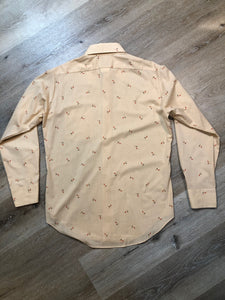 Kingspier Vintage - Vintage Arrow button up shirt in salmon, black, mustard and orange design. Made in Canada. Mens size medium.