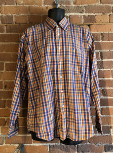 Kingspier Vintage - Yves St Laurent blue, orange yellow, green, white and red plaid button up shirt. 100% cotton with a small YSL logo on the chest. Size large mens.