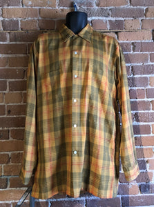 Kingspier Vintage - Vintage TownCraft orange plaid button up shirt for tall men, size large.