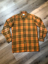 Load image into Gallery viewer, Kingspier Vintage - Vintage TownCraft orange plaid button up shirt for tall men, size large.