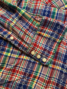Kingspier Vintage - Salt Valley western style button up shirt with snap closures in blue, red, green and yellow plaid. Size XL mens.