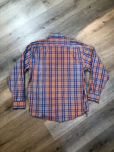 Load image into Gallery viewer, Kingspier Vintage - Yves St Laurent blue, orange yellow, green, white and red plaid button up shirt. 100% cotton with a small YSL logo on the chest. Size large mens.