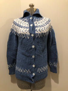 Kingspier Vintage - Hand Knit acrylic blue and white Lopi style button up cardigan. Size small.