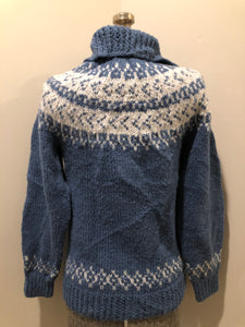"Kingspier Vintage - ""Hand Knit acrylic blue and white Lopi style button up cardigan. Size small."