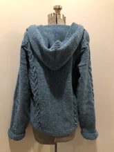 Load image into Gallery viewer, Kingspier Vintage - Hand knit wool hooded sweater in teal with flecks of multi colours. Size medium.