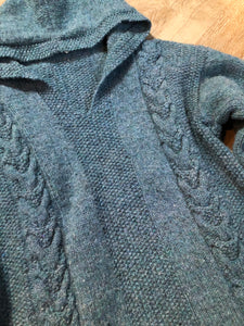Kingspier Vintage - Hand knit wool hooded sweater in teal with flecks of multi colours. Size medium.