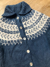 Load image into Gallery viewer, Kingspier Vintage - Hand Knit acrylic blue and white Lopi style button up cardigan. Size small.