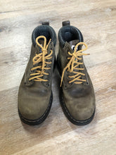 Load image into Gallery viewer, Kingspier Vintage - Roots Tuff hiking boots in olive green nubuck leather with padded ankle and thick sole. Made in Canada   Size 6.5 womens  The uppers and soles are in good condition with some all over wear.
