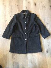 Load image into Gallery viewer, Kingspier Vintage - Alfred Dunner grey 100% wool coat with ornate silver buttons and flap pockets. Made in USA. Size 12.