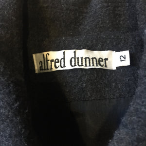 Kingspier Vintage - Alfred Dunner grey 100% wool coat with ornate silver buttons and flap pockets. Made in USA. Size 12.