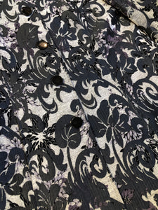 Kingspier Vintage - Grey and black floral jacket with button closures and a black inner lining. Size medium.