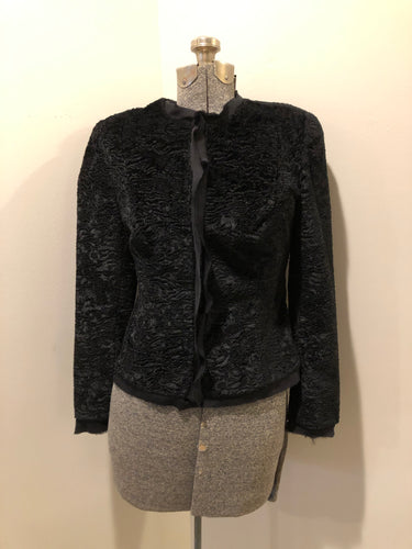 Kingspier Vintage - Ecocci black textured jacket with silk frill trim, button closures and inner lining, Size XS.