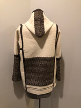 Load image into Gallery viewer, Kingspier Vintage - Vintage handwoven and handmade beige 100^ natural wool cardigan with hood, wooden toggles and inner lining. Made in Nova Scotia. Size medium.