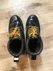 Kingspier Vintage - Roots Tuff hiking boots in black smooth leather with padded ankle and thick sole. Made in Canada.  Size 7.5 womens  The uppers and soles are in excellent condition with some minor wear.""