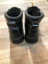 Load image into Gallery viewer, Kingspier Vintage - Roots Tuff hiking boots in black smooth leather with padded ankle and thick sole. Made in Canada.  Size 7.5 womens  The uppers and soles are in excellent condition with some minor wear.""