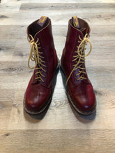 Load image into Gallery viewer, Doc Martens vintage 1490 smooth leather, mid calf, ten eyelet lace up boot in red.  Size 12 Mens US  *Boots are in excellent condition, as new.