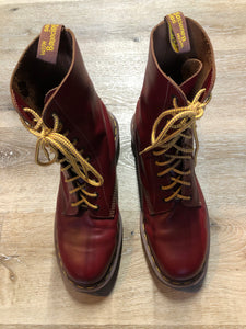 Doc Martens vintage 1490 smooth leather, mid calf, ten eyelet lace up boot in red.  Size 12 Mens US  *Boots are in excellent condition, as new.
