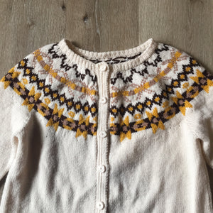 Hand Knit Cream, Brown and Yellow Lopi Cardigan, Made in Nova Scotia