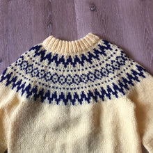 Load image into Gallery viewer, Handmade Yellow and Navy Lopi Style Sweater, Made in Nova Scotia