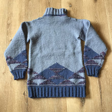 Load image into Gallery viewer, Hand Knit Blue and Purple 100% Wool Sweater