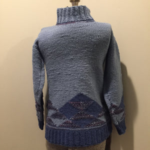Hand Knit Blue and Purple 100% Wool Sweater