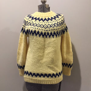 Handmade Yellow and Navy Lopi Style Sweater, Made in Nova Scotia