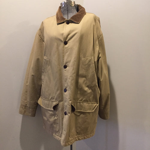 Kingspier Vintage - LL Bean Insulated beige 100% cotton chore jacket with corduroy collar, button closures, flap pockets and a quilted lining. Size XL tall.
