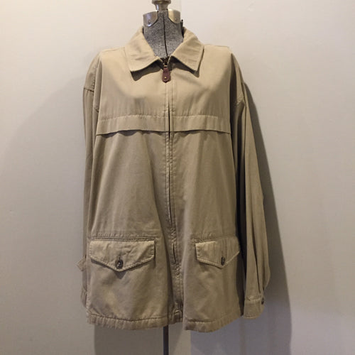 Kingspier Vintage - Eddie Bauer beige 100% cotton chore jacket with zipper closure and two flap pockets. Size large.