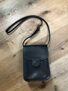 Vintage Blue/ Green Full Grain Leather Crossbody Bag
