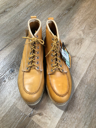 Vintage Gorilla CSA approved full grain leather 7 eyelet lace up work boots in tan with steel toe and steel plate insole to protect against injury, electric shock resistant,