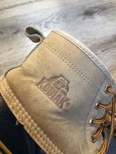 Load image into Gallery viewer, Vintage Kodiak five eyelet lace up Goose Boots with suede upper and rubber outsole, wool lining and a steel shank for foot protection.  Size 9 Mens  The uppers and soles are in excellent condition.