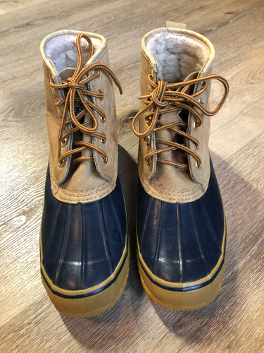 Vintage Kodiak five eyelet lace up Goose Boots with suede upper and rubber outsole, wool lining and a steel shank for foot protection.  Size 9 Mens  The uppers and soles are in excellent condition.