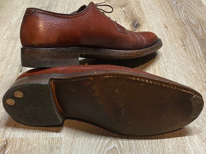Kingspier Vintage - Brown Plain Toe Derbies by The Florsheim Shoe - Sizes: 8.5M 10.5W 41-42EURO, Made in Canada, Pebbled Leather Texture, Leather Soles, Cat's Paw Won't Slip Rubber Heels
