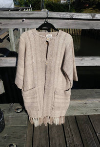 "Kingspier Vintage - This unique Daurene Lewis designer coat / jacket has two patch pockets and genuine ""horn"" buttons with wool fringe at the base. The natural tones of wool are woven in classic oversized herringbone pattern and is handwashable"