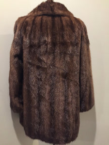 Kingspier Vintage - Vintage mid-century mink coat from Ward's (Ward Brothers) Department Store. Made in Lewiston, Maine. Frog / Hook and eye snap closures, beautiful brown lining with a subtle floral pattern