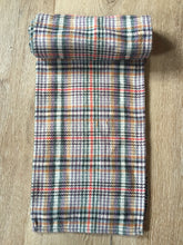 Load image into Gallery viewer, Kingspier Vintage - Multi-coloured plaid scarf. Wool blend, measures 7x56 inches.