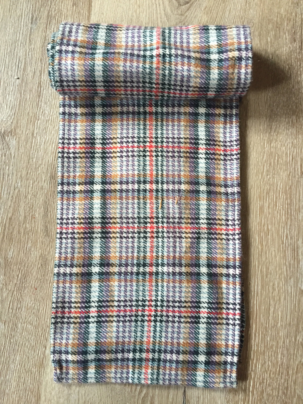 Kingspier Vintage - Multi-coloured plaid scarf. Wool blend, measures 7x56 inches.