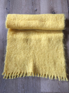 "Kingspier Vintage - Vintage ""St. Michael"" knitwear yellow mohair/wool shawl. Made in Great Britain."