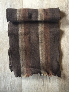 "Kingspier Vintage - Vintage ""pre-shrunk"" brown striped wool scarf."