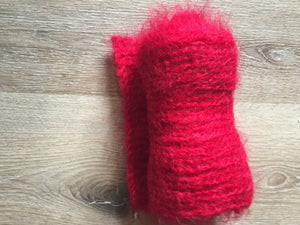 Kingspier Vintage - <p>(SOLD) Hand knit mohair scarf in a beautiful shade of red. Measures 6x62 inches. Incredibly soft!</p>