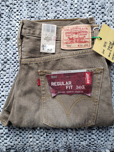 "Levi's 505 Beige denim red tab 34""x34"" Made in Phillipines. NWT"